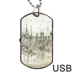 Pencil Drawing Drawing Port Dog Tag Usb Flash (two Sides) by Sapixe