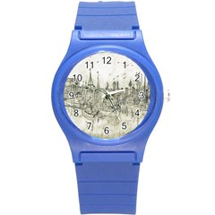 Pencil Drawing Drawing Port Round Plastic Sport Watch (s) by Sapixe