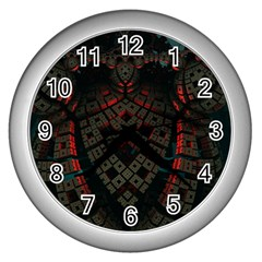 Fractal 3d Dark Red Abstract Wall Clocks (silver)  by Sapixe