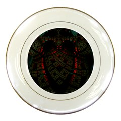 Fractal 3d Dark Red Abstract Porcelain Plates