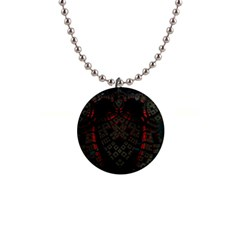 Fractal 3d Dark Red Abstract Button Necklaces