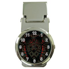 Fractal 3d Dark Red Abstract Money Clip Watches