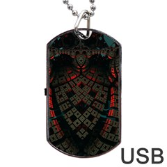 Fractal 3d Dark Red Abstract Dog Tag Usb Flash (one Side)