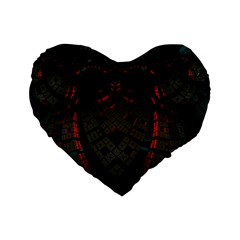 Fractal 3d Dark Red Abstract Standard 16  Premium Heart Shape Cushions