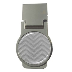 White Fabric Pattern Textile Money Clips (round)