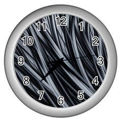Fractal Mathematics Abstract Wall Clocks (silver)  by Sapixe