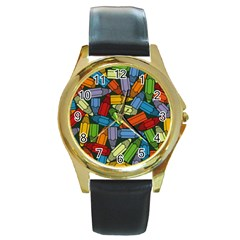 Colored Pencils Pens Paint Color Round Gold Metal Watch