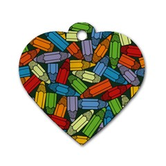 Colored Pencils Pens Paint Color Dog Tag Heart (two Sides)