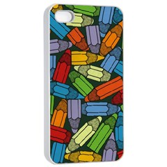 Colored Pencils Pens Paint Color Apple Iphone 4/4s Seamless Case (white) by Sapixe