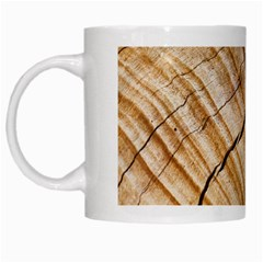Abstract Brown Tree Timber Pattern White Mugs