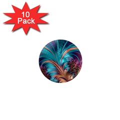 Feather Fractal Artistic Design 1  Mini Magnet (10 Pack)