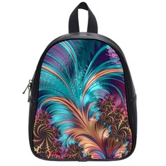 Feather Fractal Artistic Design School Bag (small) by Sapixe