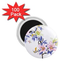 Lily Hand Painted Iris 1 75  Magnets (100 Pack)  by Sapixe