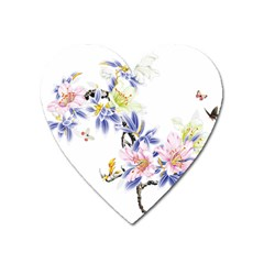 Lily Hand Painted Iris Heart Magnet by Sapixe
