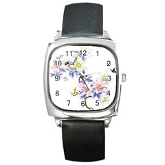 Lily Hand Painted Iris Square Metal Watch