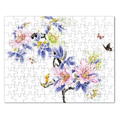 Lily Hand Painted Iris Rectangular Jigsaw Puzzl by Sapixe