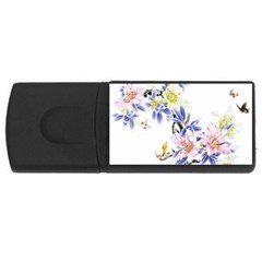 Lily Hand Painted Iris Rectangular Usb Flash Drive