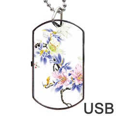 Lily Hand Painted Iris Dog Tag Usb Flash (one Side) by Sapixe