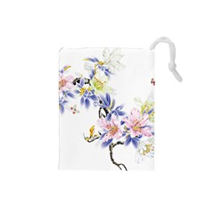 Lily Hand Painted Iris Drawstring Pouches (small)