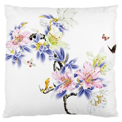 Lily Hand Painted Iris Large Flano Cushion Case (one Side)