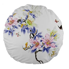 Lily Hand Painted Iris Large 18  Premium Flano Round Cushions by Sapixe
