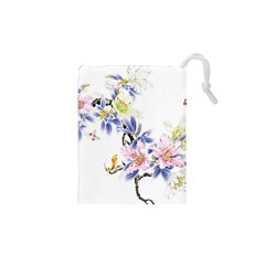 Lily Hand Painted Iris Drawstring Pouches (xs)  by Sapixe