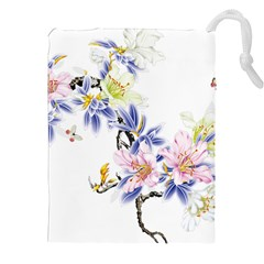 Lily Hand Painted Iris Drawstring Pouches (xxl)