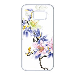 Lily Hand Painted Iris Samsung Galaxy S7 Edge White Seamless Case