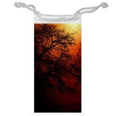 Sunset Silhouette Winter Tree Jewelry Bag