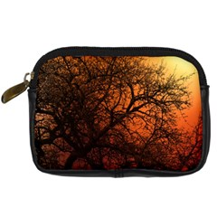 Sunset Silhouette Winter Tree Digital Camera Leather Case