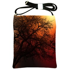 Sunset Silhouette Winter Tree Shoulder Sling Bag