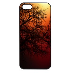 Sunset Silhouette Winter Tree Iphone 5 Seamless Case (black)