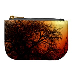 Sunset Silhouette Winter Tree Large Coin Purse