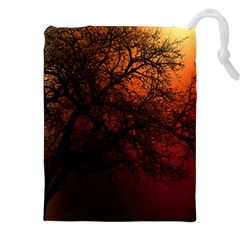Sunset Silhouette Winter Tree Drawstring Pouch (xxl)