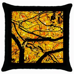 Golden Vein Throw Pillow Case (black) by FunnyCow