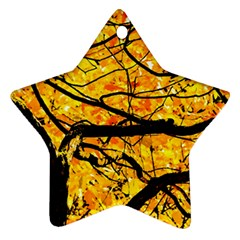 Golden Vein Star Ornament (two Sides) by FunnyCow