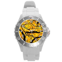 Golden Vein Round Plastic Sport Watch (l)