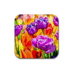 Tulip Flowers Rubber Square Coaster (4 Pack)  by FunnyCow