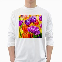 Tulip Flowers White Long Sleeve T-shirts by FunnyCow