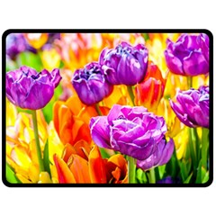 Tulip Flowers Fleece Blanket (large)  by FunnyCow