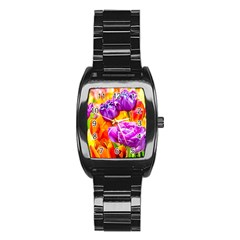 Tulip Flowers Stainless Steel Barrel Watch