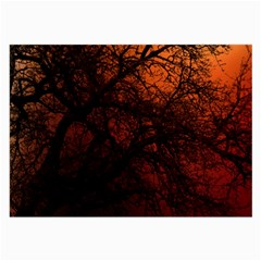 Sunset Silhouette Winter Tree Large Glasses Cloth