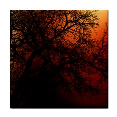 Sunset Silhouette Winter Tree Tile Coaster