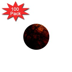 Sunset Silhouette Winter Tree 1  Mini Button (100 Pack)