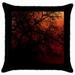 Sunset Silhouette Winter Tree Throw Pillow Case (black)