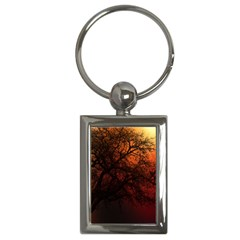 Sunset Silhouette Winter Tree Key Chain (rectangle)