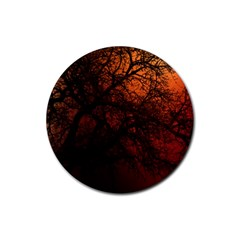 Sunset Silhouette Winter Tree Rubber Round Coaster (4 Pack)