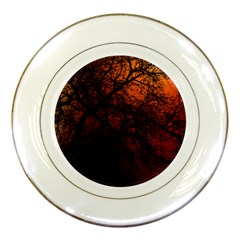 Sunset Silhouette Winter Tree Porcelain Plate