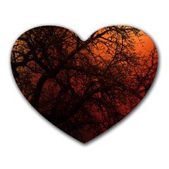 Sunset Silhouette Winter Tree Heart Mousepad