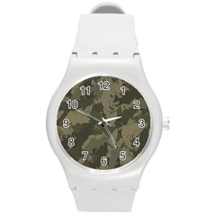 Country Boy Fishing Camouflage Pattern Round Plastic Sport Watch (m) by allthingseveryday